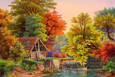 to the river - trees, art, fall, paintings, autumn, nature, rivers