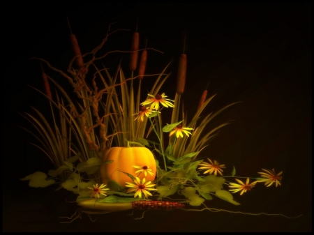 Autumn Arrangement - arrangement, reeds, autumn, pumpkin, flowers