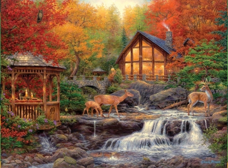 Autumn time - nature, autumn, river, cottage, deer
