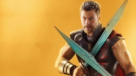 Avengers Infinity War 2018 - Chris Hemsworth, movie, orange, man, avengers, thor, actor, sword, infinity war
