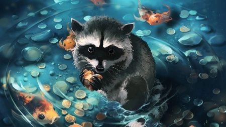 The seven deadly sins ~ Greed - animal, raton, cute, aquasixio, vara, water, fantasy, summer, blue, the seven deadly sins series, orange, fish, coins, art, greed, luminos, black, paw, raccoon, pond, sins series