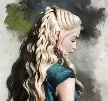 Daenerys - art, game of thrones, painting, daenerys targaryen, blonde, pictura, portrait, blue, justine florentino