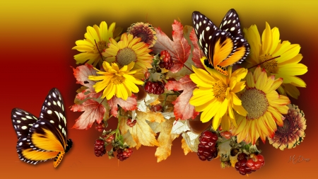 Flowers for Fall - flowers, butterflies, gerbera daisies, Firefox theme, fall, autumn, astors, gold, leaves, berries, bright