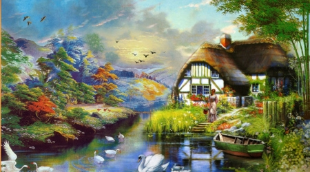 colorful place - beauty, art, nature, houses, paintings