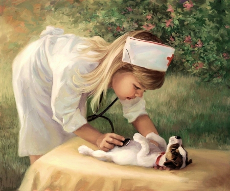 Little Doctor - table, painting, girl, dog