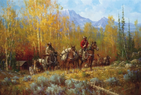 Success - autumn, mountains, painting, hunters, trees, deer, horses