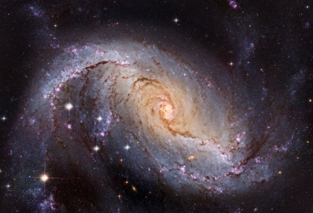 NGC 1672 Barred Spiral Galaxy from Hubble - planet, galaxies, space, stars, cool, fun