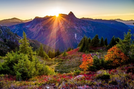 Rays of light - light, mountain, sun, autumn, rays, beautiful, sunrise, sunset