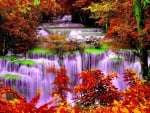 Autumn Forest And Cascade Waterfalls