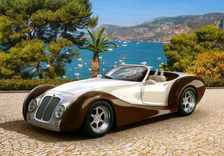 Roadster in Riviera - mountains, sea, street, car, trees