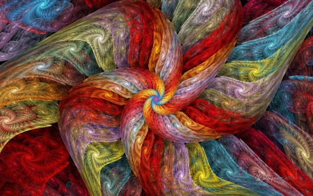 Textured Color Spiral - colors, abstract, spiral, fractal