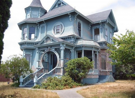 Queen Anna Arcata CA - Light Blue, Queen, Anna, Virtorian, Arcacta CA, Victorian, House