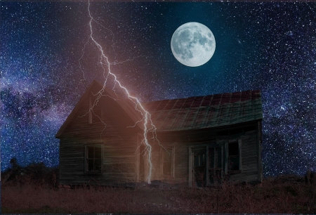Lightning over Creepy Old House - Stars, Creepy Houses, Nights, Sky, Moon, Lightning Storms, Nature