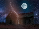 Lightning over Creepy Old House