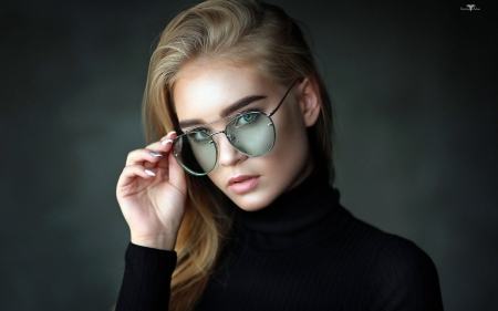 Autumn Blonde In Black - Black, Autumn, Sweater, Blonde, Glasses