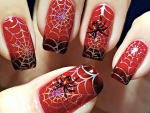 Halloween Red Spider Nail Art