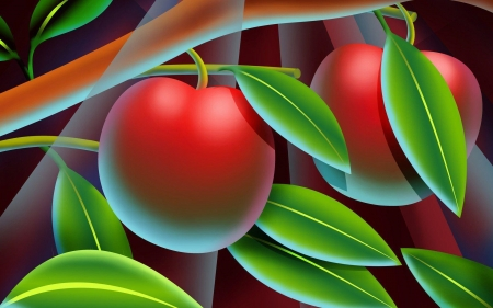 Lovely apples - pretty, art, red, leaves, green, apples, HD, abstract