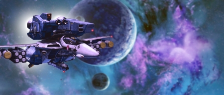 Armored Veritech in Space blue and purple - valkyrie, veritech, ultra wide, ultrawide, robotech, macross