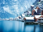 Snowy Houses on Lake Hallstatt, Austria