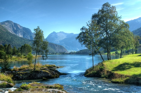 landscape xxx - grass, lake, mountain, trees