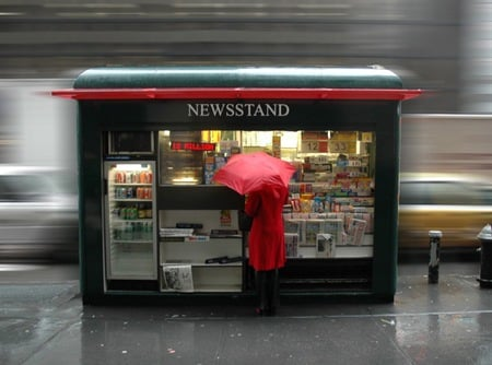 newsstand - red, rainy day, umbrella