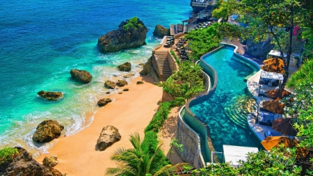 Swimming Pool with Ocean View, Bali, Indonesia - bali, pool, ocean, nature, palm, trees