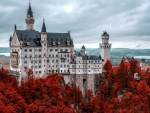 Red Autumn Trees Around Neuschwanstein Castle