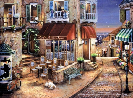Cafe Romantique - restaurant, tables, houses, painting, paris, chairs, street