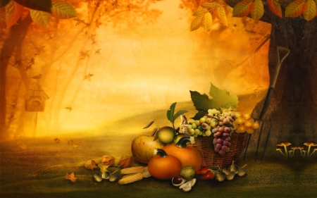 Lucious Fall Harvest - fall, fruit, harvest, digtial art, pumpkin, colors, birdhouse, Autumn, vegtables