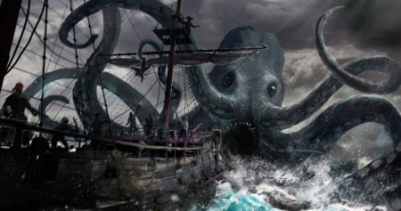 Sea monster - fantasy, octopus, ship, summer, sea monster, caracatita, pirates, giant, art, vara