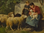 The farmer's wife with daughter and sheeps