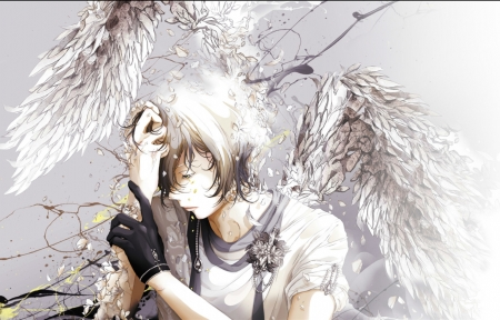 Angel - fantasy, wings, guy, anime, manga, man, bouno satoshi, angel, glove, white