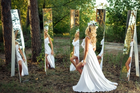 Beautiful Girl - mirrors, reflection, model, woman