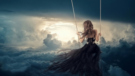 ♥ - fantasy, sun, cloud, swing, sunlight, beautiful, woman, sky
