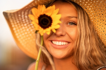 Smile ♥ - smile, face, woman, beauty, sunflower, beautiful