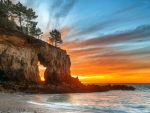 Ocean Rock with Arch at Sunset