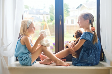 Little girl - window, 2 girls, pure, blonde, fun, smile, baby, doll, cute, sit, girl, feet, barefoot, white, childhood, pretty, adorable, sightly, play, sweet, nice, wallpaper, love, beauty, hand, face, child, bonny, leg, lovely, Hair, little, DesktopNexus, bear, beautiful, dainty, kid, fair, photography, two, people, pink, Belle, comely, princess