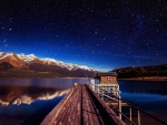 Footbridge in Lake Wakatipu, New Zealand