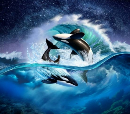 Orca Wave Fantasy Abstract Background Wallpapers On