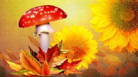Textures of Fall - gold, autumn, leaves, sunflowers, flowers, mushrooms, Firefox theme, toadstools, fall, texture