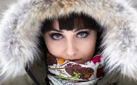 Winter Women In Brown And White - Scarf, Brunette, Brown, White, Faux Hat, Leaves, Winter