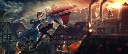 Annie and Howl - luminos, annie, fantasy, kaithzer morejon, howl, howls moving castle, couple