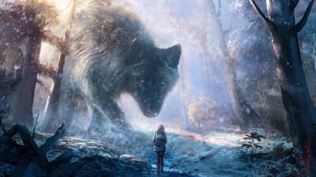 The wolf - fantasy, girl, suresh pydikondala, lup, wolf, winter, iarna, forest, giant, luminos