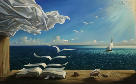 Birds - sea, art, boat, books, shells, sky