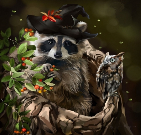 Halloween Buddies - owl, leaves, raccoon, hat
