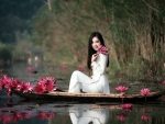 Model with Lotus Flowers