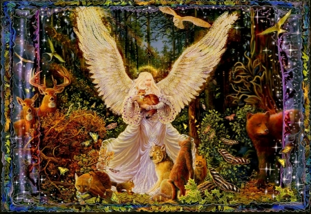 Angel of the forest - wings, girl, foxes, bear, birds, animals, deer, art, squirrel, wolf