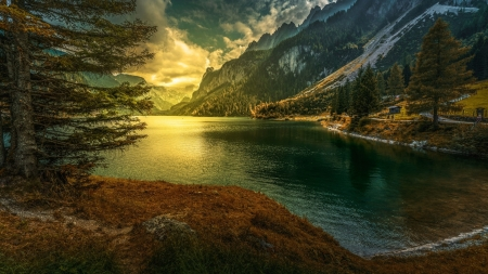 Beautiful sunrise on the river - clouds, picture, mountain, nice, pine, land, sunrise, river, mirror, reflex, amazing, mountainscape, line, country, sky, riverscape, cool, water, tree, snow, awesome, sunshine, reflections, landscape, sun, image, grass, sunset, cabin, splendor, border, 1920x1080, beautiful, photography, photo, sunny day, nature