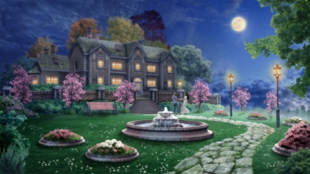 DANCING UNDER THE MOON - MOON, MALE, DANCING, FEMALE, FLOWERS, HOUSE