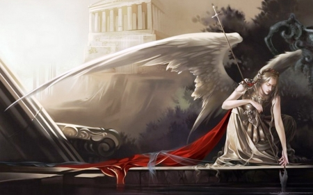 Sad angel - fantasy, gothic, angels, building, girl, painting